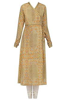 Yellow Printed Kalidaar Kurta Set