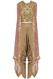 Gold Sequinned Crop Top, Dhoti Pants and Cape Set