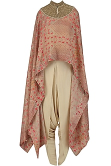 Pink Printed Cape and Dhoti Pants Set
