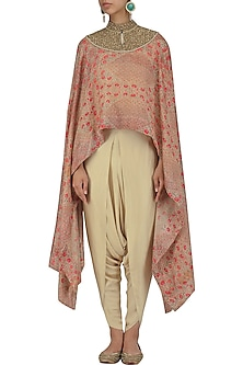 Pink Printed Cape and Dhoti Pants Set by Debyani