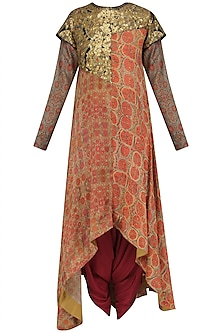 Orange Sequinned Tunic and Dhoti Pants Set by Debyani