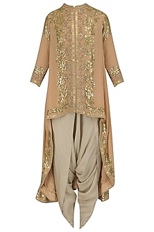 Pale Pink Sequinned Trail Jacket and Dhoti Pants Set