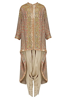 Pale Grey Sequinned Trail Jacket and Dhoti Pants Set