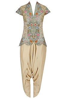 Pista Green Floral Embroidered Jacket and Dhoti Pants Set