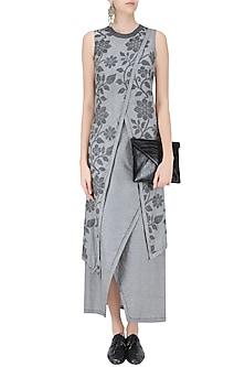 Light Grey Floral Jamdani Criss Cross Two Layered Dress by Debashri Samanta