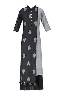 Light Grey and Black Peacock Feather Jamdani Motif Double Layered Dress by Debashri Samanta