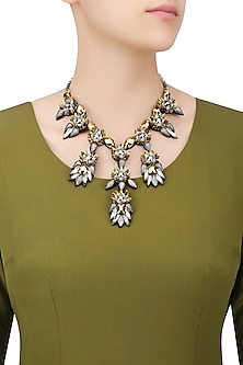 Metallic Gold Crystal, Beads and Sequinned Motifs Necklace