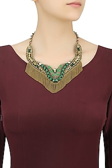 Gold and Emerald Green Stone and Beads Tassel Necklace