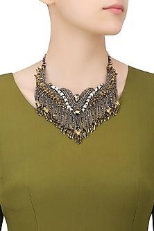 Metallic Gold and Gun Beads and Swarovski Tassel Necklace