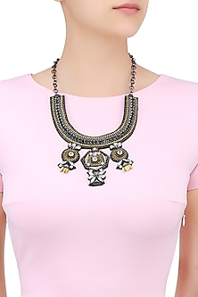 Gold, Gun and Silver Floral Beaded Motifs Necklace