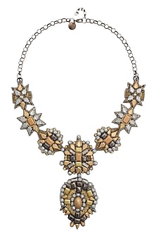 Silver and Matte Gold Beaded Floral Motifs Necklace by Deepa by Deepa Gurnani