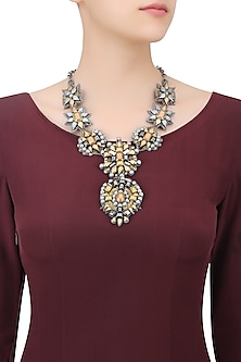 Silver and Matte Gold Beaded Floral Motifs Necklace