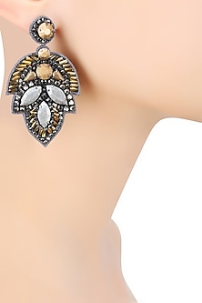 Matte Gold and Matte Gun Crystal Embellished Earrings