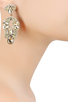 Gold Crystal Stone Embellished Earrings