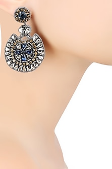 Gun Color Sapphire Blue Stone and Zircons Embellished Earrings