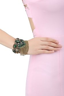 Gold and Emerald Green Stones Emebellished Tassel Bracelet