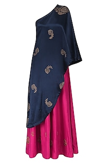 Navy blue block print drape tunic and fuschia pink sharara set by Vandana Dewan