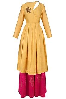 Chandan Embroidered Angrakha Kurta and Fuschia Pink Sharara Set by Vandana Dewan