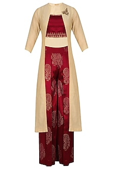 Gold Embroidered Long Jacket and Maroon Printed Pants Set