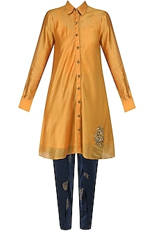 Yellow orange Flared Dress with Navy Hand Block Print Pants