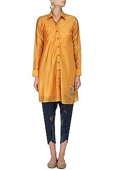 Yellow orange Flared Dress with Navy Hand Block Print Pants by Vandana Dewan
