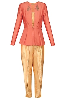 Orange Embroidered Peplum Jacket and Yellow Tulip Pants Set