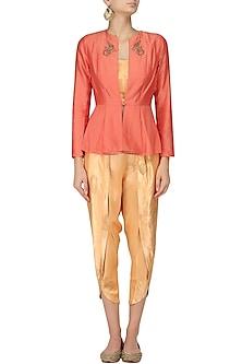Orange Embroidered Peplum Jacket and Yellow Tulip Pants Set by Vandana Dewan
