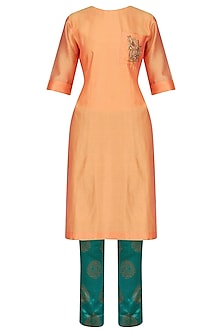 Yellow Embroidered High Low Kurta with Emerald Green Pants