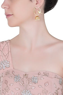 Gold plated red crystal bird jhumki earrings