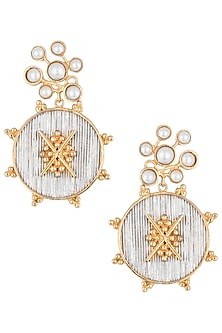 Gold plated oxidised centre earrings by Digna