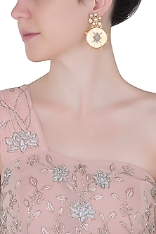 Gold plated grid centre earrings