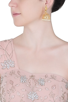 Gold plated dancing peacock jhumki earrings