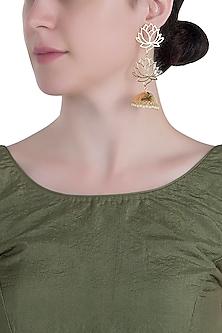 Gold plated long lotus earrings