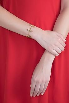 Gold Plated Handcrafted Enameled Flexible Adjustable Bracelet by Dhwani Bansal