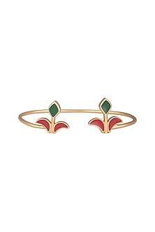 Gold Plated Handcrafted Enamled Adjustable Bracelet by Dhwani Bansal