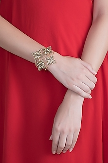 Gold Plated Handcrafted Enameled Cuff by Dhwani Bansal