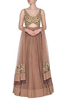 Almond Embroidered & Pleated Cutout Gown With Dupatta by Dheeru and Nitika