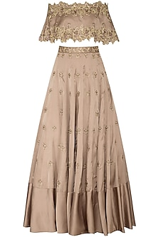 Almond Embroidered Off Shoulder Cape With Bustier & Lehenga Skirt by Dheeru and Nitika