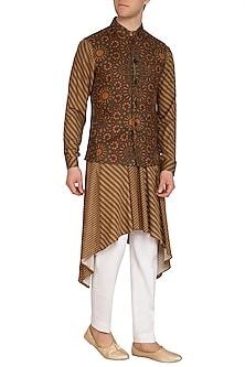 Mustard Mughal Printed Nehru Jacket by Dhruv Vaish