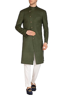 Olive Green Contemporary Overlap Sherwani by Dhruv Vaish