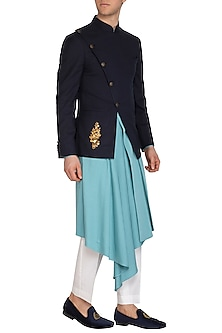 Navy Blue Embellished Bandhgala Jacket by Dhruv Vaish