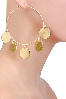 Matte Gold Plated Ladoo Hoop Earrings