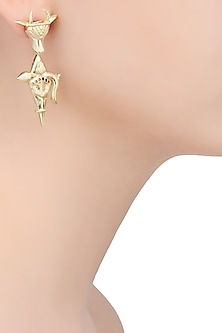 Gold Finish Holy Cow Weapon Earrings by Dhora