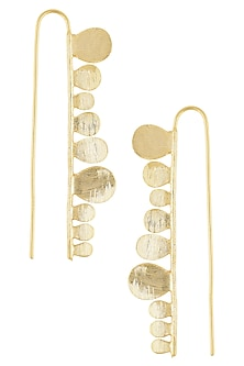 Gold Finish Barm Hook Earrings by Dhora