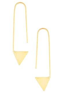 Gold Finish Triangular Drop Hook Earrings by Dhora