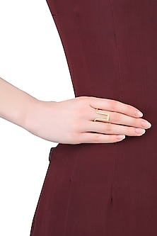 Gold Finish Adjustable Geometric Design Ring by Dhora