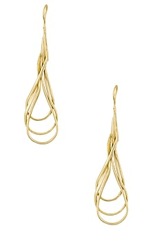Gold Plated Swirl Earrings by Dhora