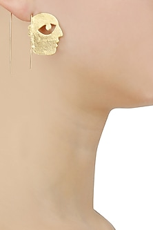 Gold Plated Bobo Face Hook Earrings by Dhora