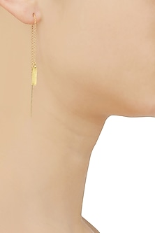 Gold Plated Line Chain Long Earrings
