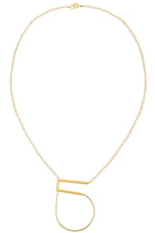 Gold Finish Geo Statement Necklace by Dhora